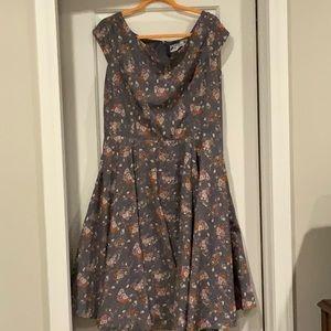 Hell Bunny Vixen Grey Floral Antonella Dress XL